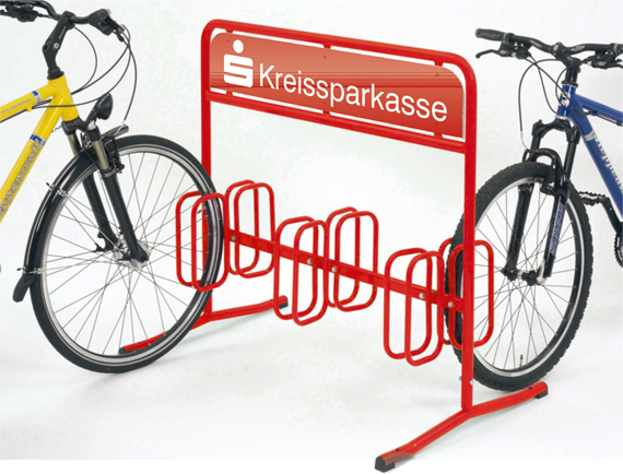 werbe fahrradst nder f r 6 fahrr der fahrradst nder mit werbefl che von. Black Bedroom Furniture Sets. Home Design Ideas